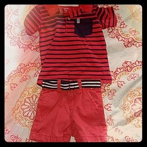 Red Navy Collared Polo & Short Set 24 mos